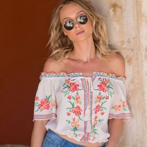 """Flying Tomato Tops - """"Flying Tomatoe""""Lanie Off the Shoulder Top"""